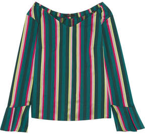 Etro Striped Cotton-blend Poplin Top - Green