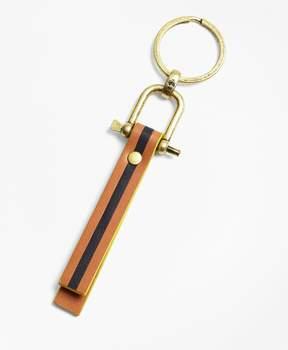Brooks Brothers Leather Stripe Key Fob