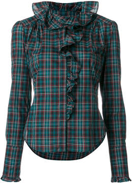 Faith Connexion frill trim plaid shirt