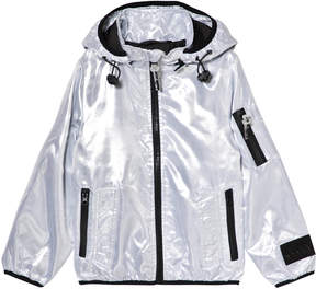 Diadora Silver Shiny Lightweight Hooded Jacket with Inner Braces