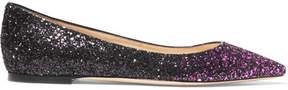 Jimmy Choo Romy Dégradé Glittered Leather Point-toe Flats - Pink