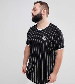 SikSilk PLUS Muscle T-Shirt In Black With Stripes Exclusive to ASOS