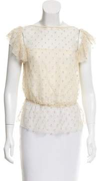 Behnaz Sarafpour Embroidered Silk Top