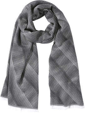 Joe Fresh Women's Frayed Stripe Scarf, Grey (Size O/S)