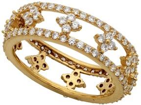 Crislu Lacey 18K Gold Plated CZ Pave Filigree Band Ring