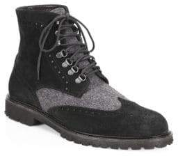 Saks Fifth Avenue COLLECTION Wingtip Suede Combat Boots