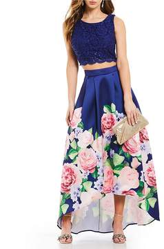 Jodi Kristopher Lace with Floral Skirt Two-Piece High-Low Dress