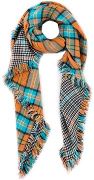 Shiraleah Orange & Blue Plaid Adalyn Scarf