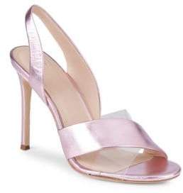 Pour La Victoire Elly Metallic Leather & PVC Slingback Sandals