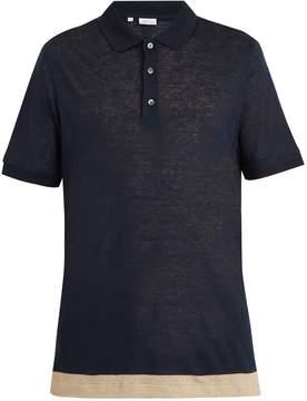 Brioni Contrast-panel linen polo shirt