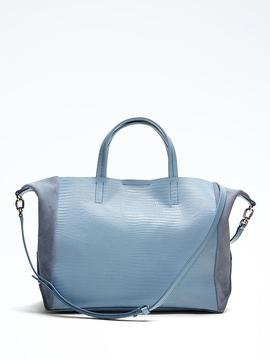 Portfolio Slouch Snake-Effect Leather Tote