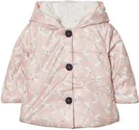 Catimini Pink Deer Print Coat with Teddy Lining