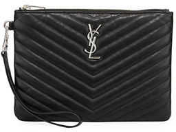 Saint Laurent Monogram Quilted Pouch Wristlet Wallet - BURGUNDY - STYLE