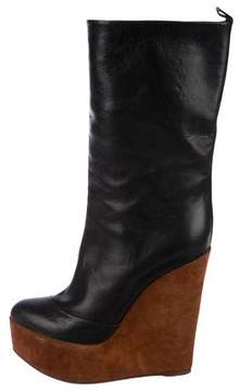 Celine Leather Wedge Booties