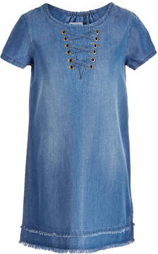 Epic Threads Little Girls Lace-Up Denim Dress, Created for Macy's