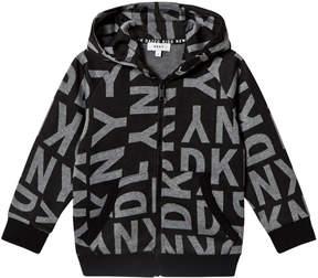 DKNY Black All Over Branded Zip Hoodie