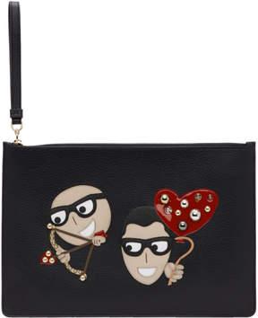 Dolce & Gabbana Black Cupid DGFamily Pouch