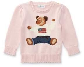 Polo Ralph Lauren Bear Cotton Sweater Powder Pink 3M