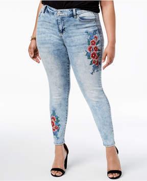 Celebrity Pink Trendy Plus Size Floral-Print Skinny Jeans