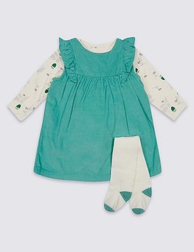Marks and Spencer 3 Piece Cord Dress & Bodysuit with Tights Outfit