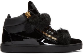Giuseppe Zanotti Black Patent and Velvet Brek Mid-Top Sneakers