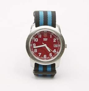 Blade + Blue Vintage Red Swiss Army Field Watch with Striped Military Band