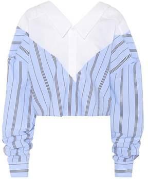 Unravel Striped cotton-blend blouse