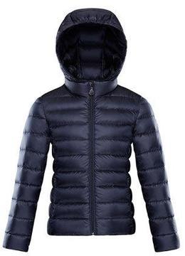 Moncler Iraida Hooded Lightweight Down Puffer Jacket, Navy, Size 4-6