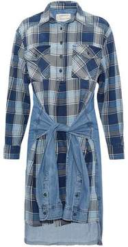 Current/Elliott Tie-Front Chambray-Paneled Checked Cotton Twill Dress