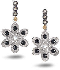 Coomi Opera Flower Earrings with Black Spinel & Diamonds