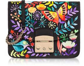 Furla Giardino Notturno Lizard Printed Leather Metropolis Small Crossbody Bag