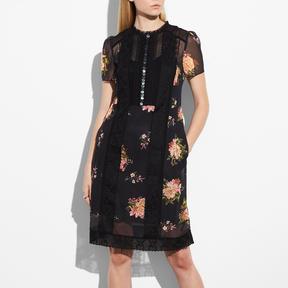 COACH LACEWORK DRESS - BLACK MULTI