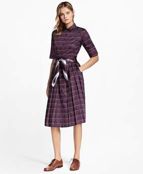 Brooks Brothers Ribbon-Print Cotton Sateen Shirtdress