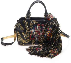 Patricia Nash Angelin Embroidered Leather Satchel with Matching Scarf