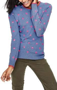 Boden Sequin Flower Cotton Sweater