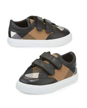 Burberry Heacham Check Canvas Sneaker, Black/Tan, Newborn