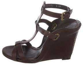 Ralph Lauren Leather Ankle-Strap Wedges