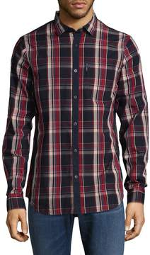 Armani Exchange Men's Macro Checkered Cotton Sportshirt