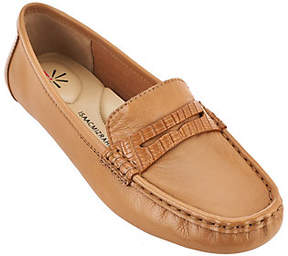 Isaac Mizrahi Live! Leather Moccasin with SnakeTrim