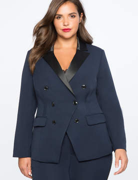 ELOQUII Satin Collar Double Breasted Blazer