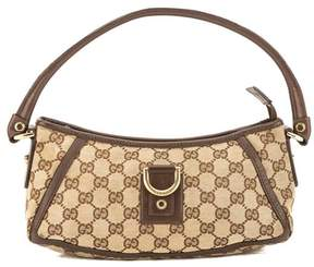 Gucci Brown Leather GG Monogram Canvas D-Ring Tote - BROWN - STYLE