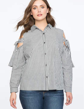 ELOQUII Striped Cold Shoulder Button Up Top