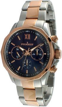 Peugeot Mens Rose-Tone Stainless Steel Bracelet Watch 1046TBL