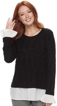 Elle Women's ElleTM Mock-Layer Cable Knit Sweater