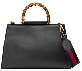 Gucci Large Nymphea Bicolor Leather Top Handle Satchel - Black - BLACK - STYLE