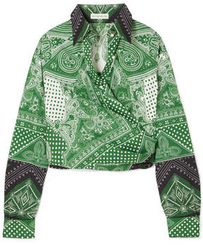 Etro Cropped Printed Cotton-blend Wrap Top - Green