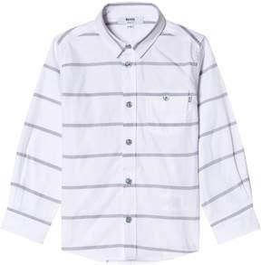 BOSS White Stripe Branded Poplin Shirt