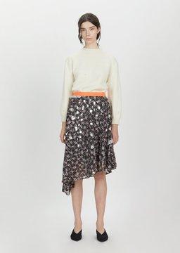 Kolor Tulle Asymmetrical Skirt Black Flower Size: 1