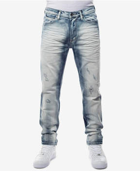 Sean John Men's Straight Fit Stretch Heavy Bleached Jeans, Created for Macy's