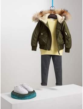 Burberry Detachable Fox Fur Trim Hood Technical Twill Bomber Jacket